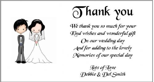Thank You Gift Cards Wedding Personalised -  Bride and groom design x 10